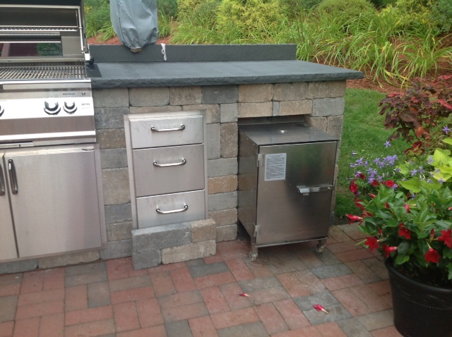 SmokinTex electric smoker outdoor kitchen